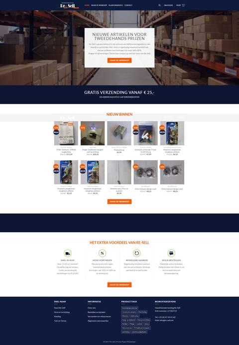 Portfolio   WooCommerce webshop Handelsonderneming Re-Sell gemaakt door Pretty Pages Webdesign Hillegom