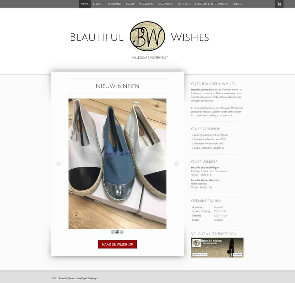 Portfolio | Jimdo webshop Beautiful Wishes gemaakt door Pretty Pages Webdesign Hillegom