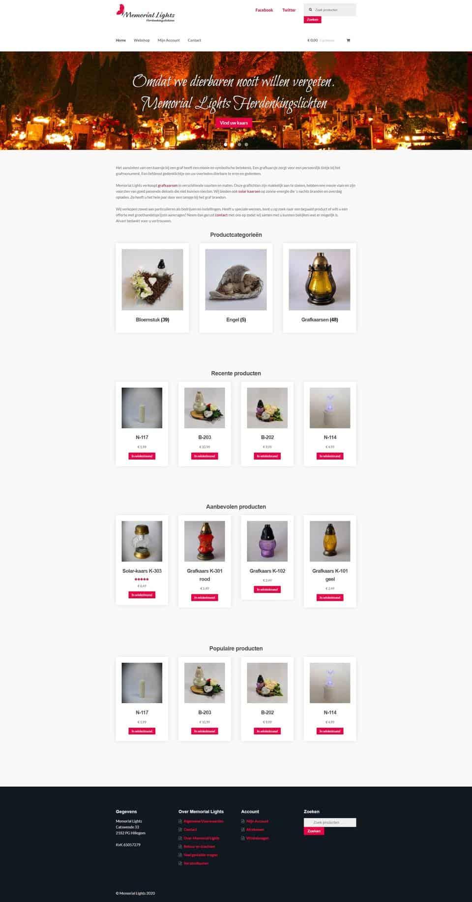 Portfolio | WordPress website Memorial Lights gemaakt door Pretty Pages Webdesign Hillegom