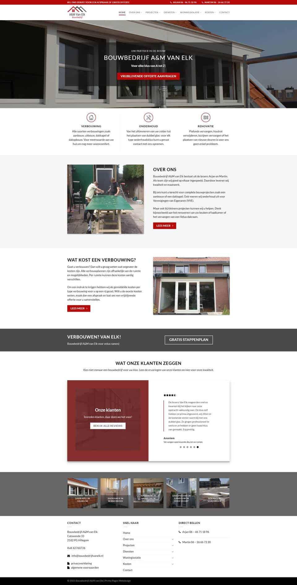 Portfolio | WordPress website Bouwbedrijf A&M van Elk gemaakt door Pretty Pages Webdesign Hillegom