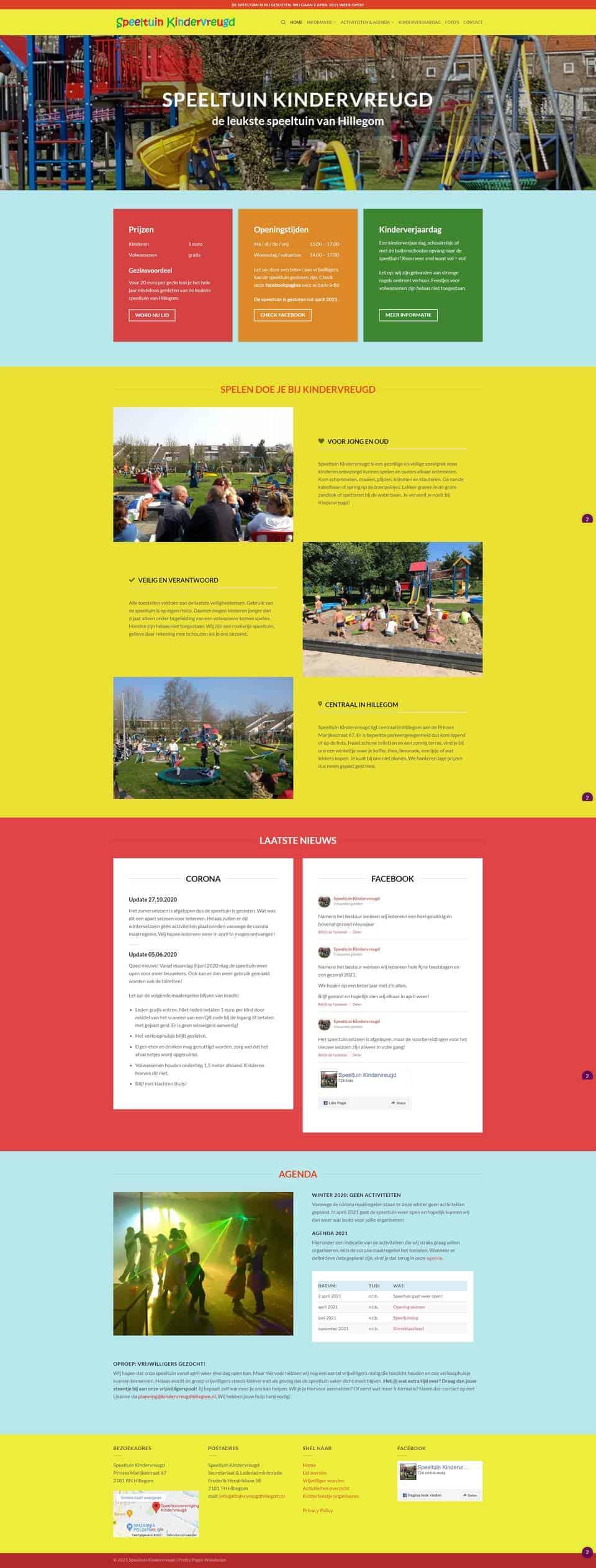 Portfolio   WordPress website Speeltuin Kindervreugd gemaakt door Pretty Pages Webdesign Hillegom